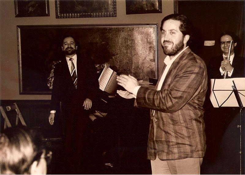 1988. Con Emmanuel Ferrer e Antonio Arias logo da estrea da miña Sonata Leviatán.