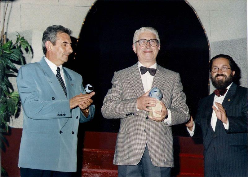 1995. Acompañando ao meu pai no seu derradeiro recital en Viveiro (Lugo)