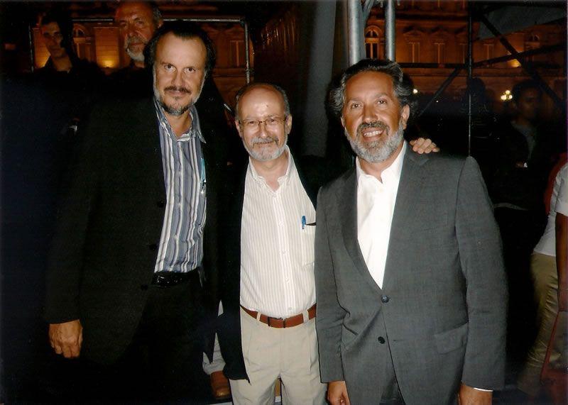 2008. Con José Luis Turina e o poeta Fernan-Vello, despois dun concerto na Coruña