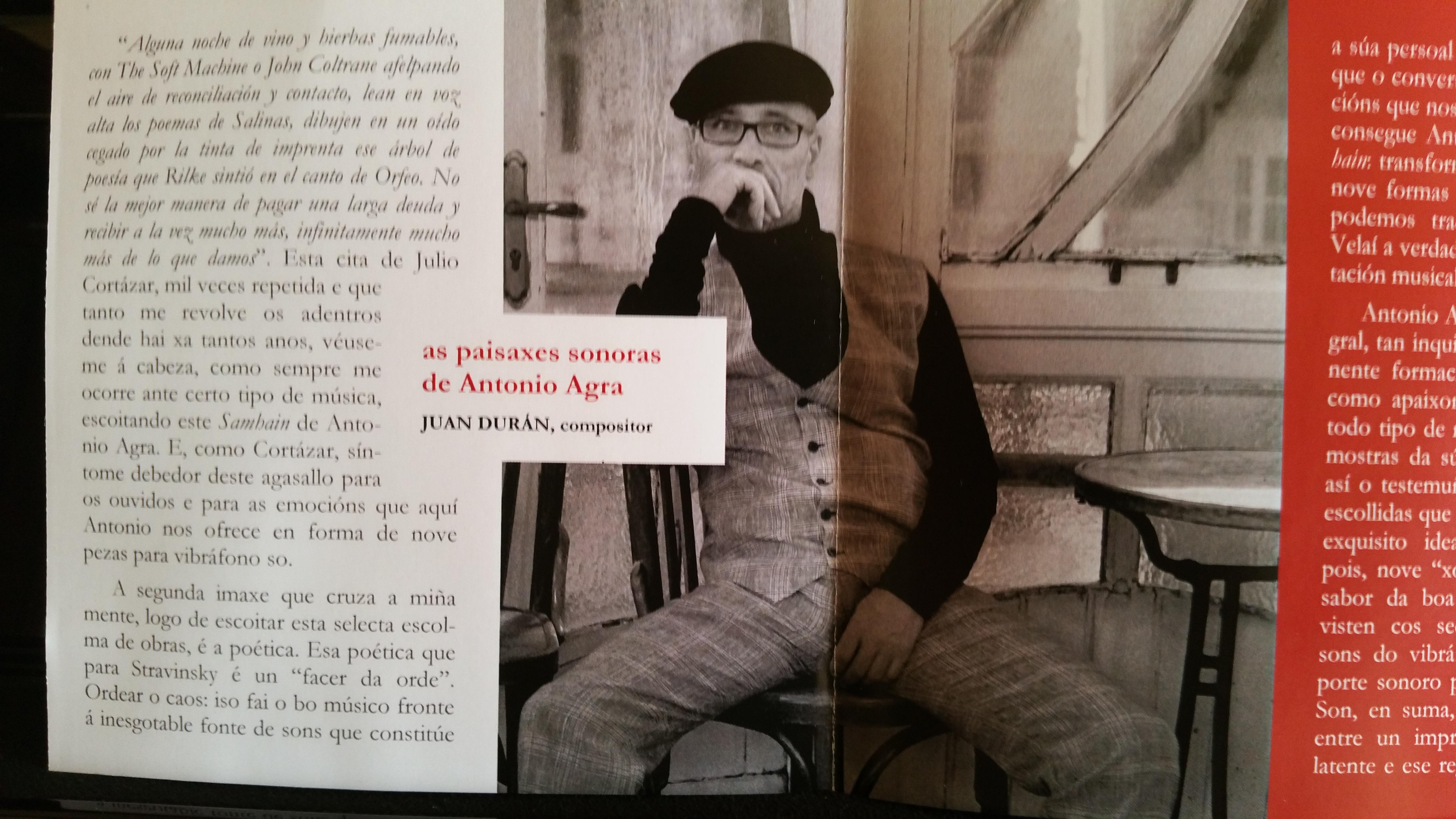 As paisaxes sonoras de Antonio Agra (notas de J. Durán para SAMHAIN)