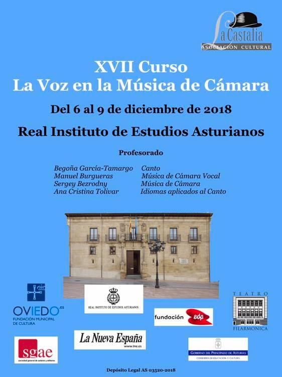 """Cancións de J. Durán no XVII Curso """"La voz en la Música de Cámara"""" en Oviedo"""