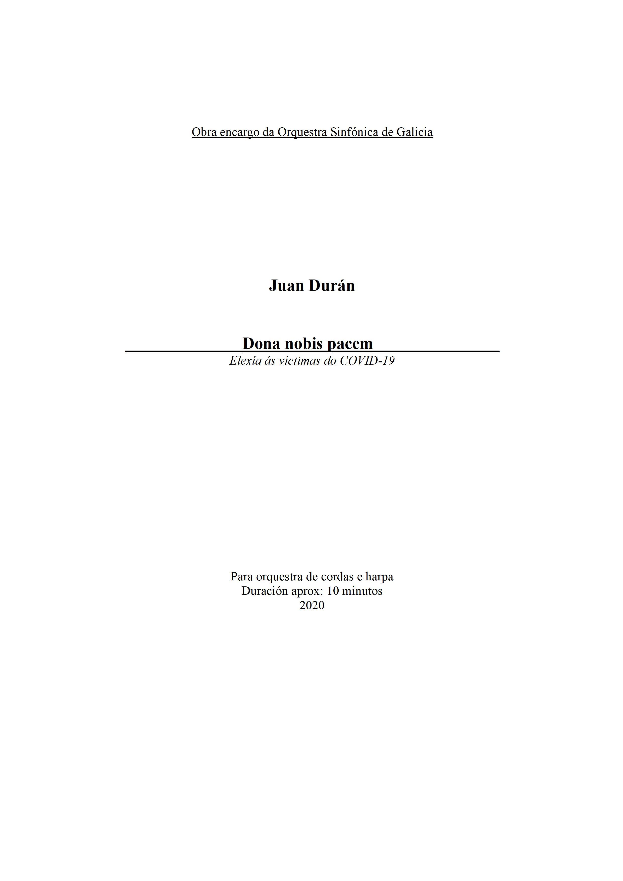 Estrea de Dona nobis pacem de J. Durán