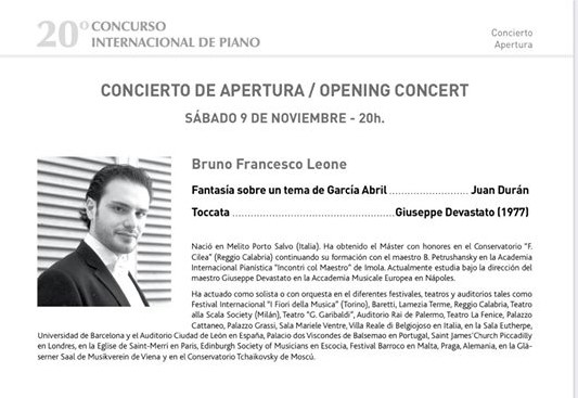 Estrea de J. Durán no Auditorio de Las Rozas (Madrid) polo pianista Bruno Francesco Leone