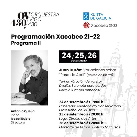 J. Durán coa Orquestra 430 de Vigo, Antonio Queija e Isabel Rubio