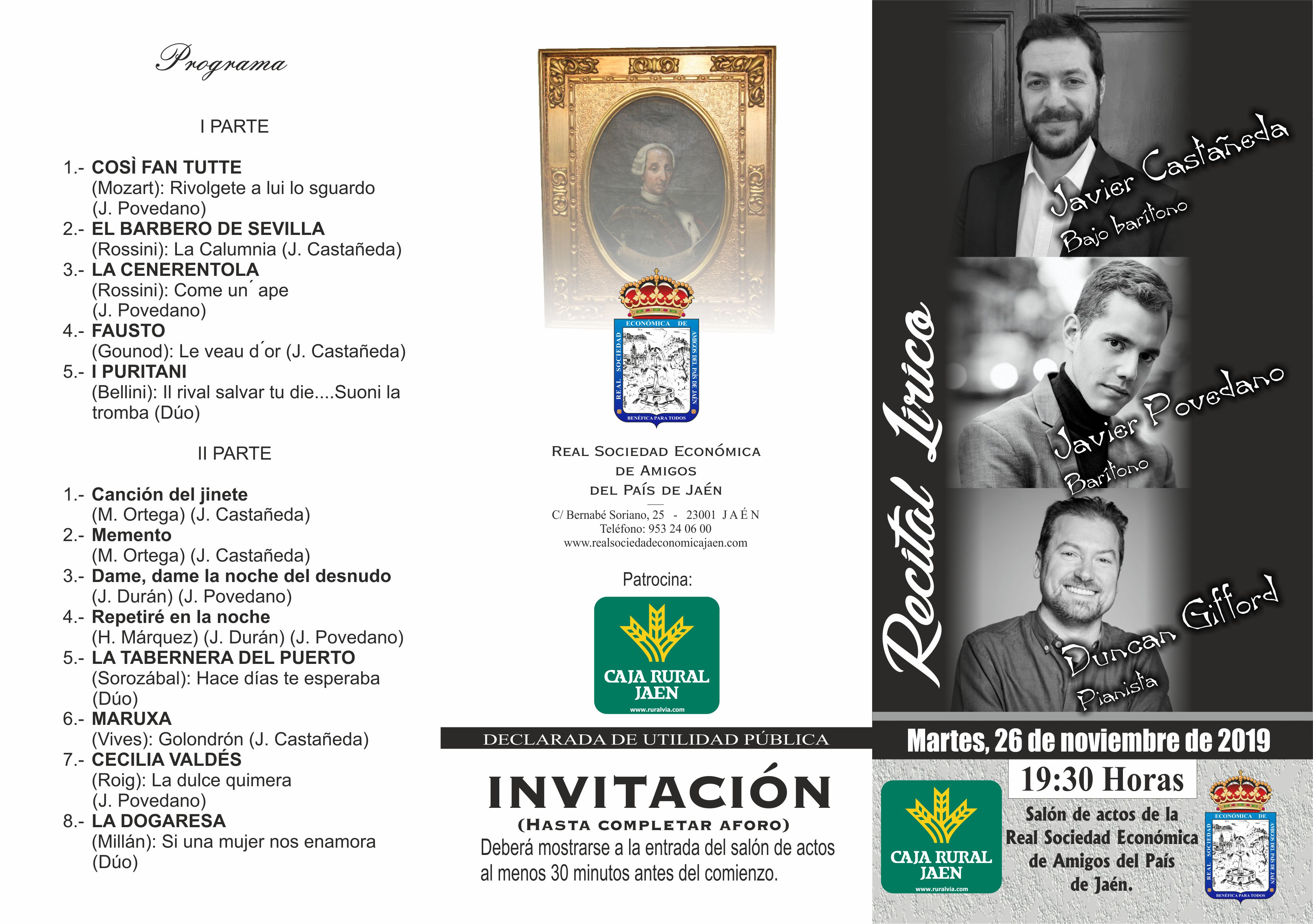 Javier Povedano canta música de J. Durán en Jaén
