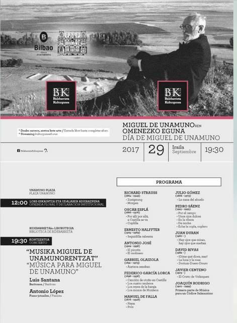 Música de J. Durán para canto e piano en Bilbao