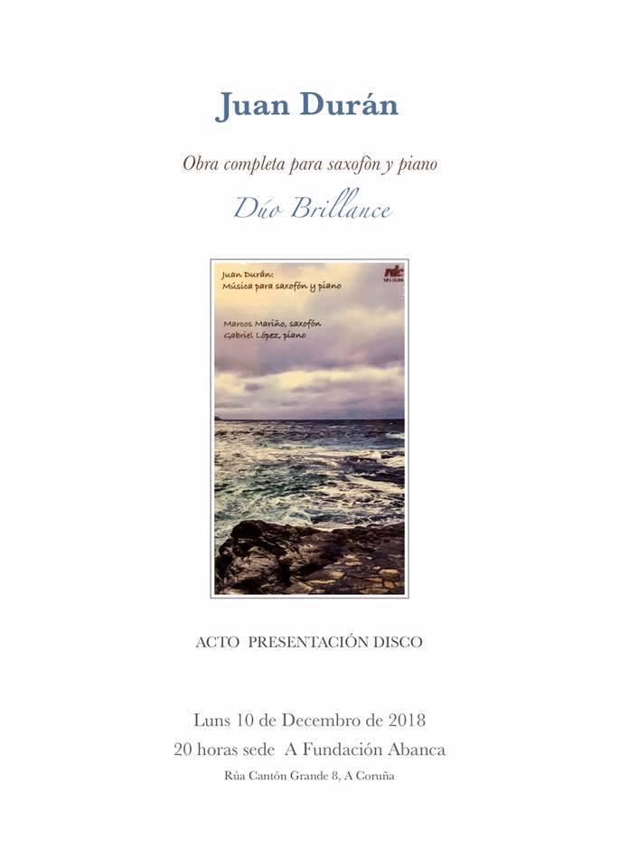 Presentación do CD de J. Durán Música para saxofón e piano