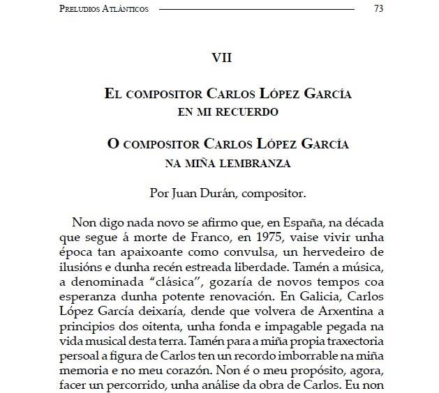 """Publicado en """"Preludios Atlánticos"""" un artigo de J. Durán sobre o compositor Carlos López-García"""